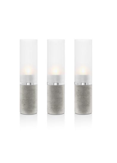 Svícen FARO 21 cm beton, matné sklo (3 ks)